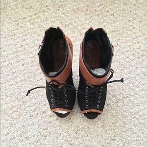 Schutz Peep Toe Ankle Boots